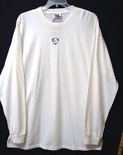 NIKE Men's TIEMPO L/S Cotton Crewneck Tee-White/Navy Logo-EXTRA LARGE-NWT-$24