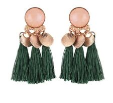 NEW GOLD GREEN RHINESTONE TASSEL PARTY TASSLE FRINGE  EARRINGS BOHO GIFT NT46