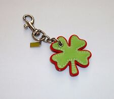 COACH 4 FOUR LEAF CLOVER BAG CHARM KEY CHAIN NWOT Lucky Green Gold Leather