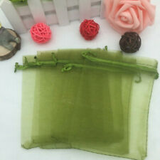 10pcs Drawstring Organza Bags Jewelry Pouches Wedding Party Gift Bag Olive green