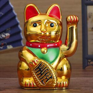 Gold Neko Chinese Lucky Waving Cat Beckoning Maneki Neko Wealth Fortune Feng Shu