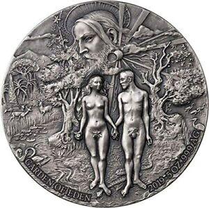 Benin 2019 5000 Francs GARDEN OF EDEN Adam Eve 5oz Silver Coin