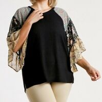 New Umgee Top 1X Waffle Knit Floral Paisley Ruffle Sleeve Boho Peasant Plus Size