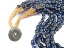 Translucent Cobalt Naga Bead Necklace 7mm Nepal Blue Oval Glass 24 Inch Strand