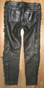 """Strong Men's Lace-Up Leather Jeans / Biker Trousers IN Black Approx. W35 """" / L35"""