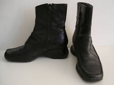 Size 5 Black Leather ankle boots low wedge