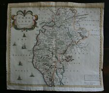 Robert Morden County Map of Cumberland hand coloured published 1695