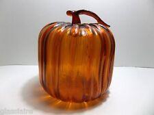 "Vintage Studio Art Glass Pumpkin Amber Orange 7.5"""