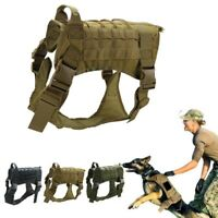 Tactical K9 Training Dog Harness Military Police*Adjustable Molle Nylon Vest
