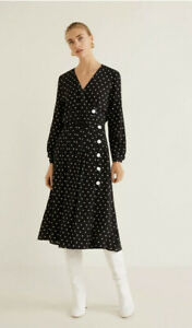 MANGO MNG SUIT Black Polka Dot Flared Dress Button Front UK 10 BNWT