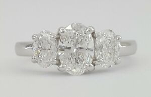 Kwiat 1 ct Platinum Three 3 Stone Oval Diamond Engagement Anniv Ring