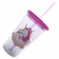 Unicorn Cup Plastic Double Walled 15.5 cm High Screw Top Lid & Straw