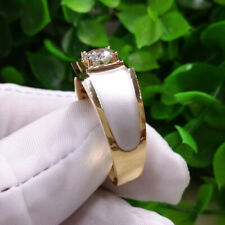 Women Men Wedding Party Hot Sz 9 Gorgeous White Sapphire Gold Plated Silver Ring