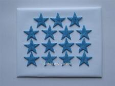 15 X EDIBLE LIGHT BLUE GLITTER STARS. CAKE DECORATIONS - MEDIUM 3cm