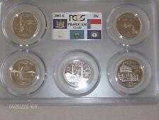 2001 S CLAD 5 COIN QUARTER SET  PCGS PF69 DEEP CAMEO FLAG  (NY,NC,RI,VT & KY)