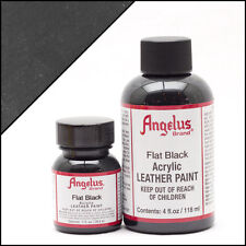 Angelus Brand Acrylic Leather Paint for Shoes / Sneakers - Flat Black 1oz / 4oz