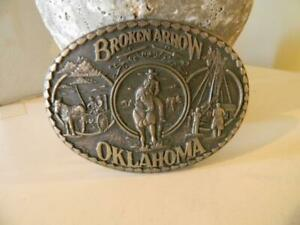 Broken Arrow Oklahoma 1992 Belt Buckle Solid Brass 3.75 Inches