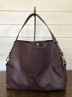 JEWELL by THIRTY-ONE Large Tote Bag Pebbled Faux Leather Jewells & Gems Maroon