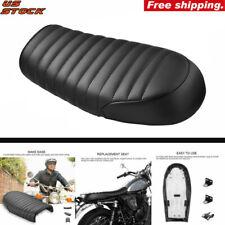 NEW Motorcycle Black Cafe Racer Vintage Flat Cushion Seat Saddle For Honda CB CL