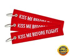 3pcs Kiss Me Before Flight Embroidered Keychain Air Pilot Key Ring Luggage Tag