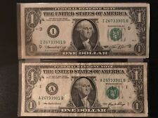 """MATCHING """"2673 3901"""" ...1974 ..UNCIRC $1  &  2006 $1 .. US Paper SERIAL NUMBER"""