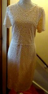 TU LONG PEACH STRETCH LACE LINED S/S DRESS (LOOKS LIKE A SKIRT SUIT)SIZE 16 NWOT