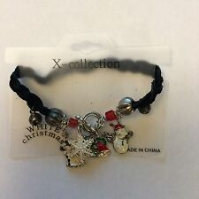 XCollection White Christmas Charms Black Leather Bracelet Snowman Snowflake Bell