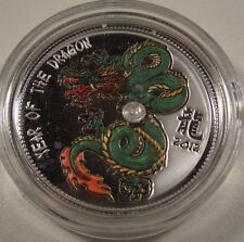 2012 CAMEROON LUNAR DRAGON WITH ZIRCON $1000 FRANCS SILVER COIN MINTAGE 500