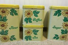 VINTAGE METAL CANISTER SET BY CHEINCO WITH SUNFLOWERS FLOUR SUGAR TEA COFFEE