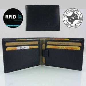 New Black/Grey Mens Soft Cowhide Leather Anti-RFID Blocking Technology,protect,I