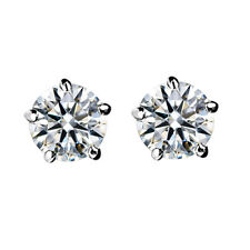 18K WHITE GOLD PLATED CLEAR GENUINE CUBIC ZIRCONIA SOLITAIRE STUD EARRINGS
