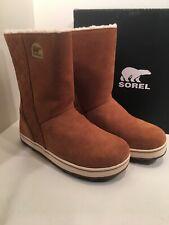 SOREL Glacy Women 8 Suede Leather Elk Tan Winter Snow Mid Bootie Boots 4 Rowan
