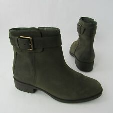 Cole Haan Grand OS Size 6.5 B Ankle Boots Oiled Leather Bootie Zip Olive Green