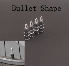 4 x Silver Pure Metal Bullet Type Auto Wheel Valve Stems Air Dust Cap For Holden