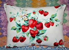 Vintage Wilendur Farmhouse Strawberries  Mid Century Tablecloth Lumbar Pillow