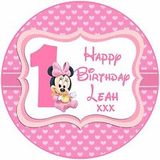 Disney Baby Minnie Mouse 1st,2,3,4,5 Birthday Edible Personalised Cake Topper