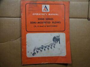 Allis Chalmers 2000 series semi Mounted plow 4 5 6 bottom Operators Manual