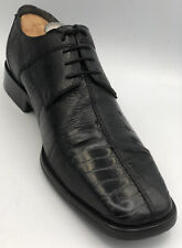 David Eden Genuine Crocodile Ostrich Derby Mens Black Abiatar Dress Shoes 10.5D
