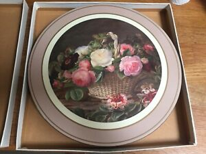 Set of 6 Vintage Boxed Pimpernel Rose Basket Round Place Mats