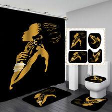 African Woman Black Shower Curtain Bath Mat Toilet Cover Rug Bathroom Decor