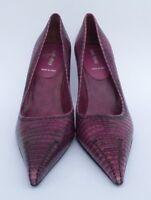 MIU MIU Purple Lizard Embossed Leather Point Toe Black Stitched Heels Pumps 40