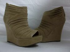 Steve Madden Size 9.5 M Wesscot Taupe Suede Wedges New Womens Shoes