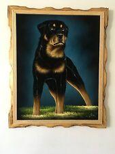 "ROTTWEILER DOG , VELVET PAINTING , 18"" BY 22"" W , FRAME , BLACK & BROWN ,SIGNED"