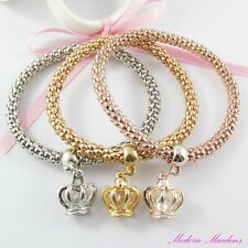 3pce Three Tone 3D Royal Crown Charm Stretch Popcorn Chain Bracelet Set