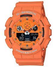 Casio G-Shock *GA100RS-4A Hot Rock Sounds Bright Orange Anadigi Watch for Men
