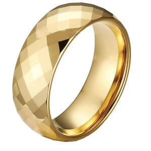 8MM Men's Jewelry Tungsten Bridal Ring Gold Multi-Faceted Prism Cut Wedding Band