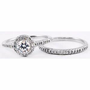 14k White Gold Round Diamond Halo Engagement Ring & Wedding Band Set 0.43 tcw