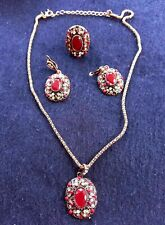 Vintage Costume Jewellery Set. Necklace, Earrings and Ring