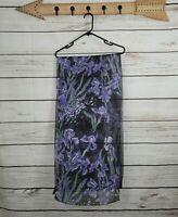 Zazou Luxe | Black & Purple Floral Silk Scarf Wrap