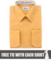Berlioni Men's Convertible Cuff Solid Long Sleeve Dress Shirt Mustard + FREE TIE